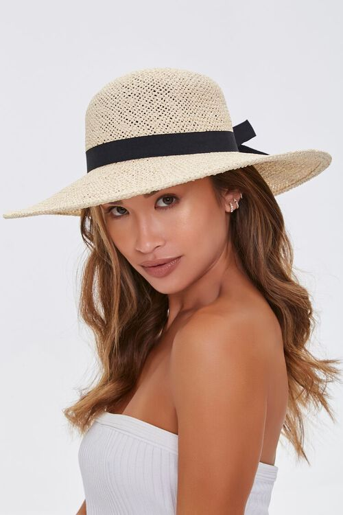 NATURAL/BLACK Faux Straw Bow Ribbon Boater Hat, image 2