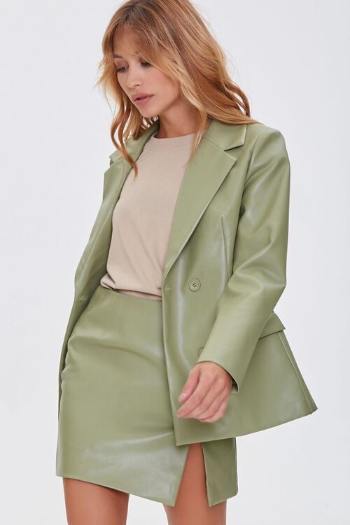 Faux Leather Double-Breasted Jacket, image 1