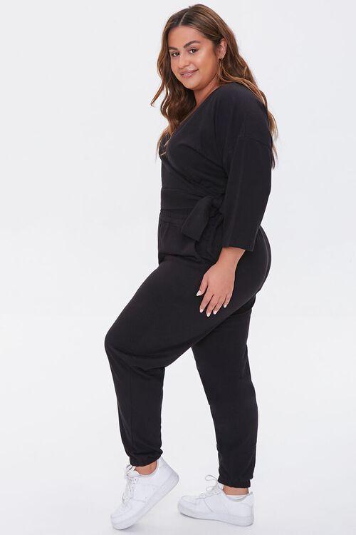 BLACK Plus Size Wrap Top & Joggers Set, image 2