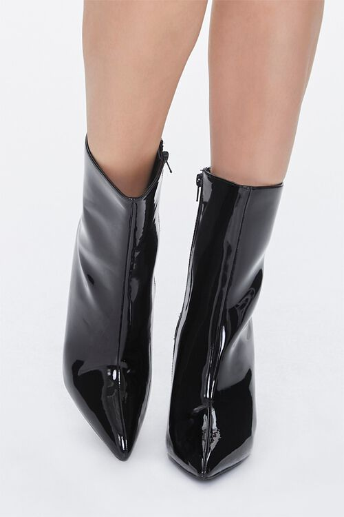 Faux Patent Leather Stiletto Booties, image 4