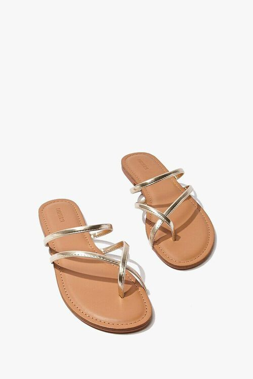 Strappy Metallic Toe Thong Sandals, image 3