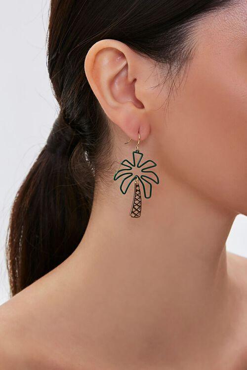GOLD/GREEN Palm Tree Pendant Drop Earrings, image 1