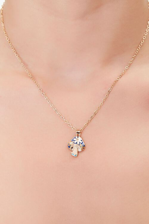 GOLD/BLUE Mushroom Charm Chain Necklace, image 1