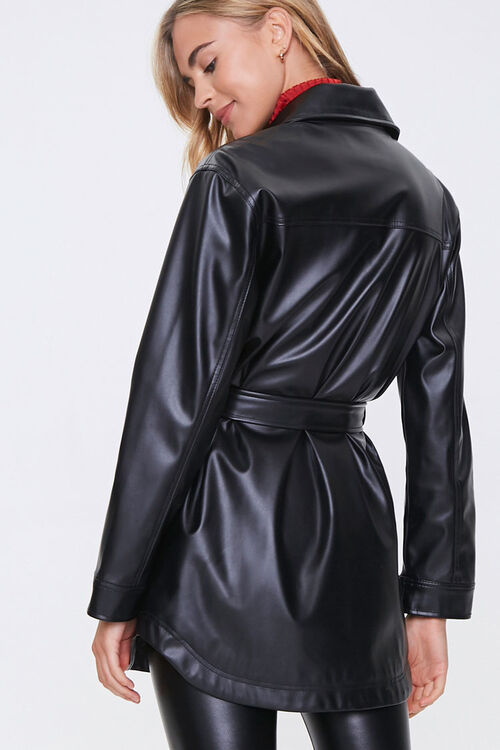 Belted Faux Leather Jacket, image 3