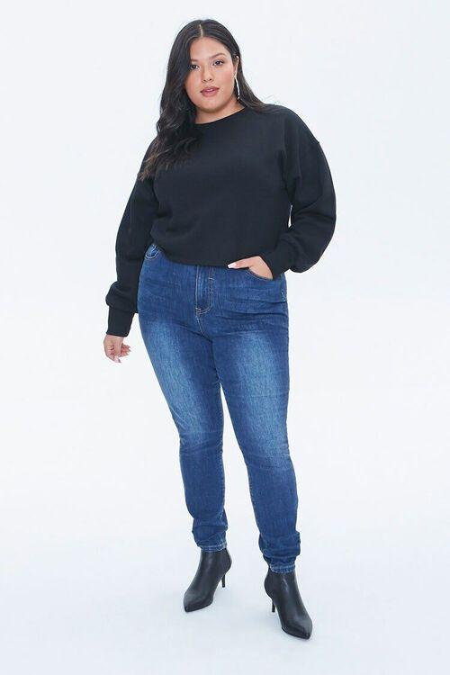 BLACK Plus Size Fleece Crew Neck Top, image 4