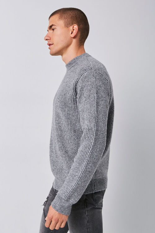 Marled Ribbed Mock Neck Sweater, image 3
