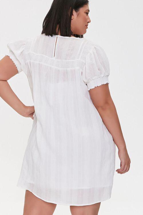 WHITE Plus Size Striped Mini Dress, image 4