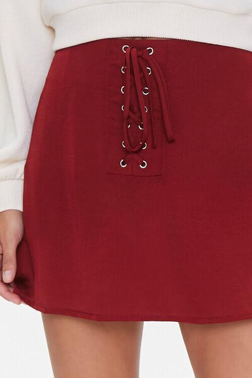 Lace-Up Satin Mini Skirt, image 5
