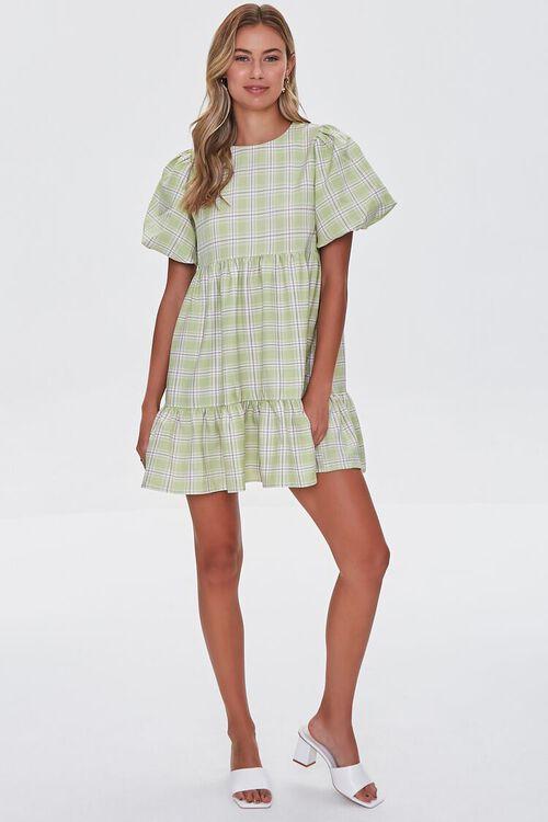 PISTACHIO/MULTI Tiered Plaid Mini Dress, image 4