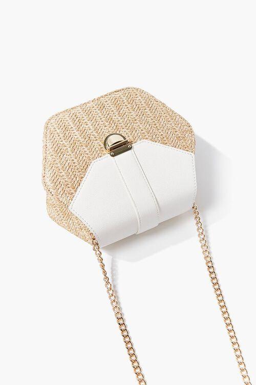 WHITE Basketwoven Hexagon Crossbody Bag, image 5