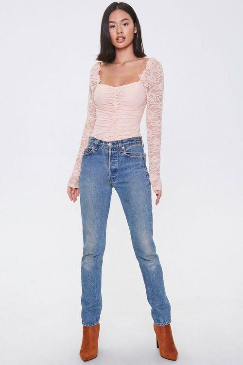 Ruched Floral Lace Bodysuit, image 4