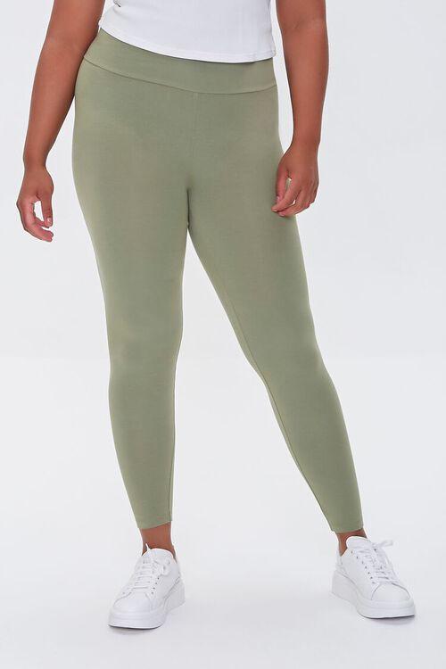 OLIVE Plus Size Basic Organically Grown Cotton Leggings, image 2