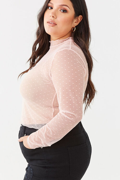 Plus Size Sheer Clip Dot Graphic Top, image 2