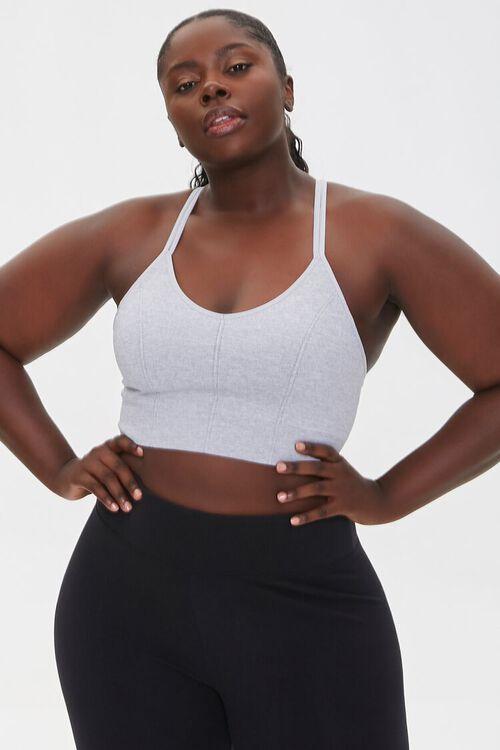 HEATHER GREY Plus Size Heathered Sports Bra, image 1