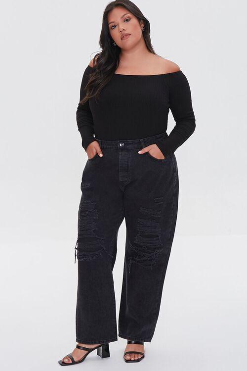 WASHED BLACK Plus Size Boyfriend Jeans, image 5