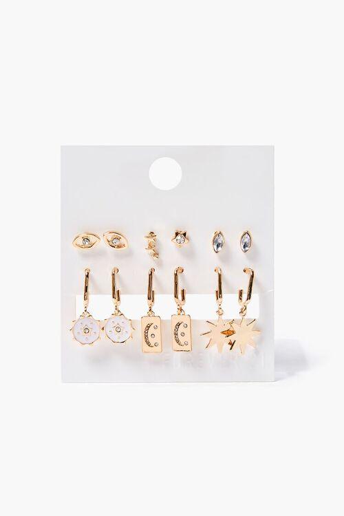 GOLD/WHITE Eye Charm Hoop & Stud Earring Set, image 1