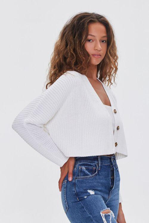 CREAM Ribbed Cropped Cardigan Sweater, image 2