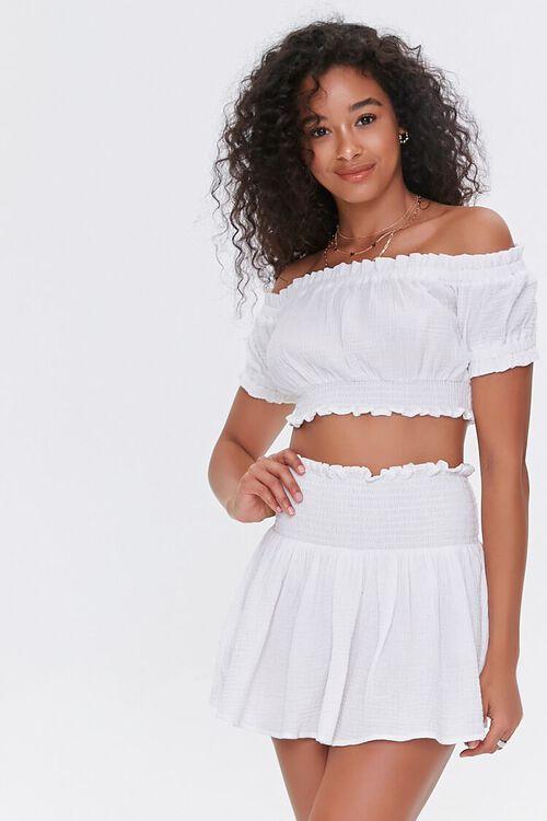 Smocked Mini Skirt, image 1