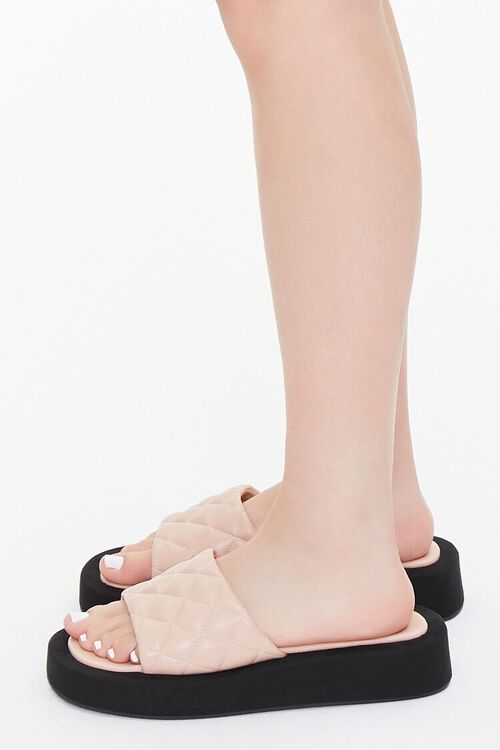 Quilted Slip-On Flatform Sandals, image 2