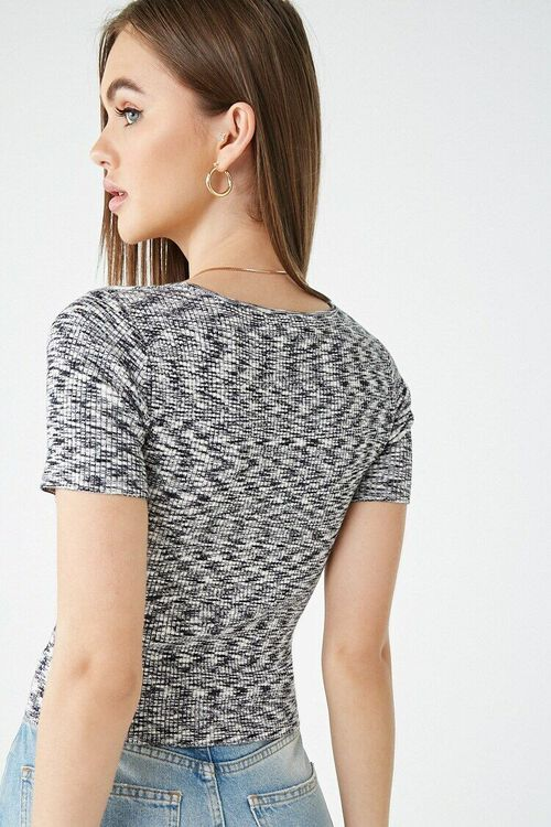 BLACK/WHITE Marled Button-Front Top, image 3