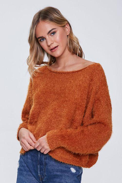 Fuzzy Knit Drop-Sleeve Sweater, image 1