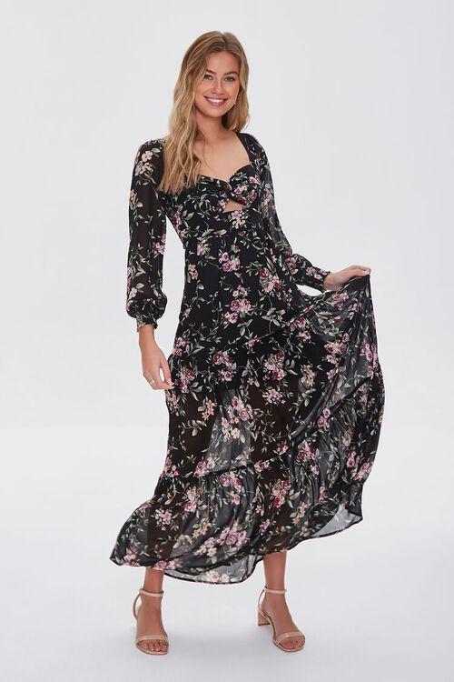 BLACK/MULTI Floral Print Maxi Dress, image 1