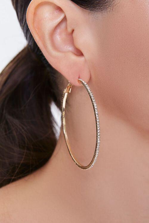 GOLD/CLEAR Oversized Rhinestone Hoop Earrings, image 1