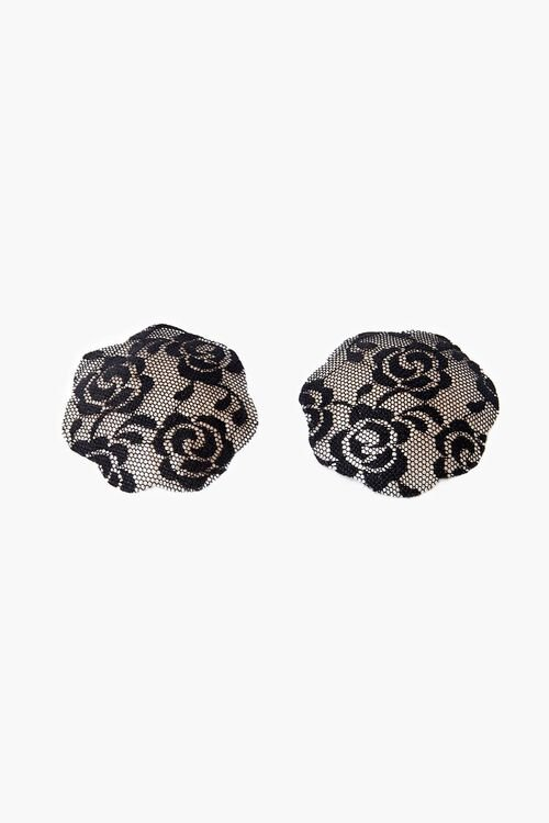 BLACK Round Scalloped Lace Pasties, image 1