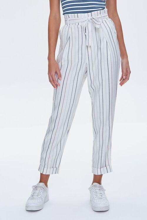 IVORY/BLUE Striped Paperbag Pants, image 2