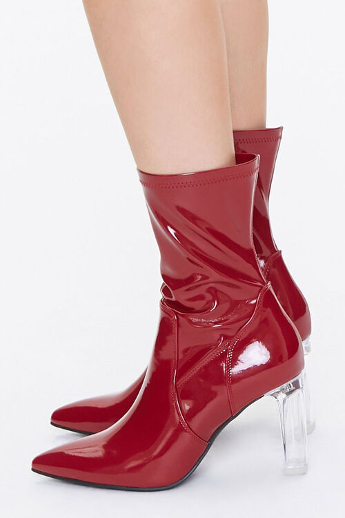 Faux Patent Leather Lucite Heel Booties, image 2