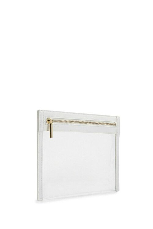 WHITE Transparent Zippered Pouch, image 2