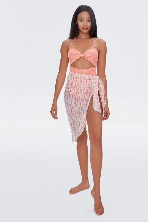 TAN/MULTI Tiger Striped Swim Cover-Up Skirt, image 2