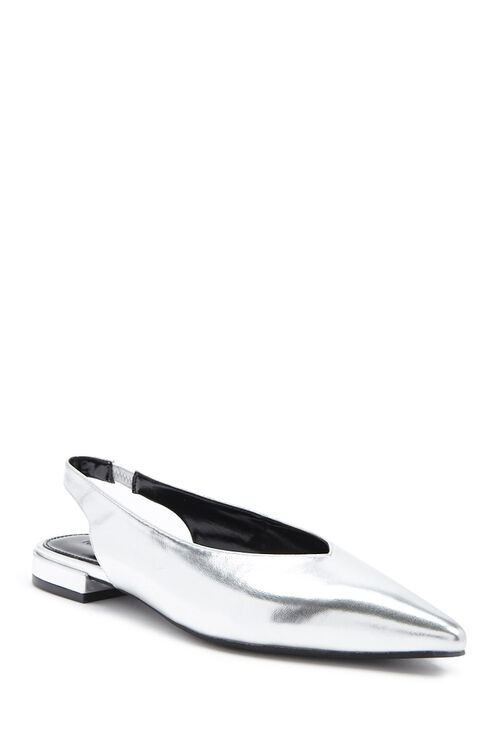 Pointed Faux Leather Flats, image 2