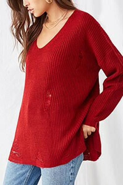 Distressed Longline Sweater, image 1