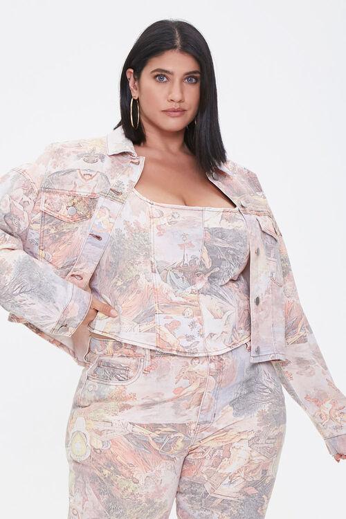 Plus Size Art Print Denim Jacket, image 1
