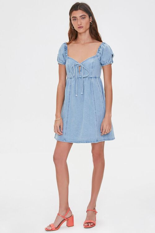 Denim Puff-Sleeve Dress, image 4
