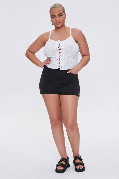 Plus Size Ribbed Lace-Up Cropped Cami, image 4