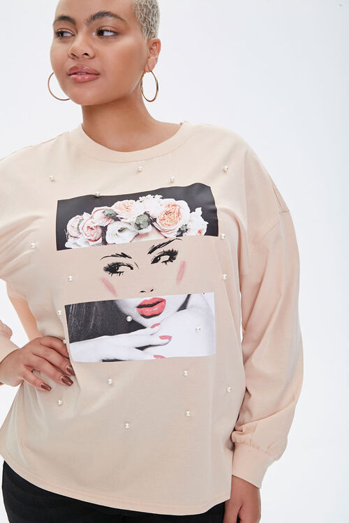 Plus Size Flower Crown Graphic Pullover, image 1