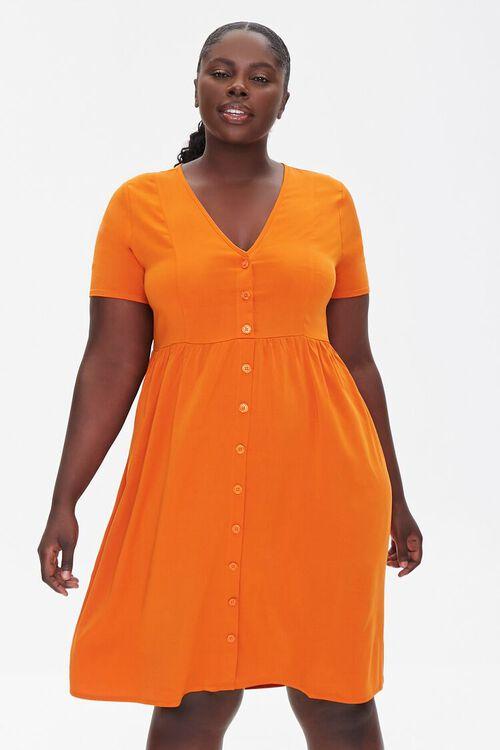 RUST Plus Size Fit & Flare Dress, image 1