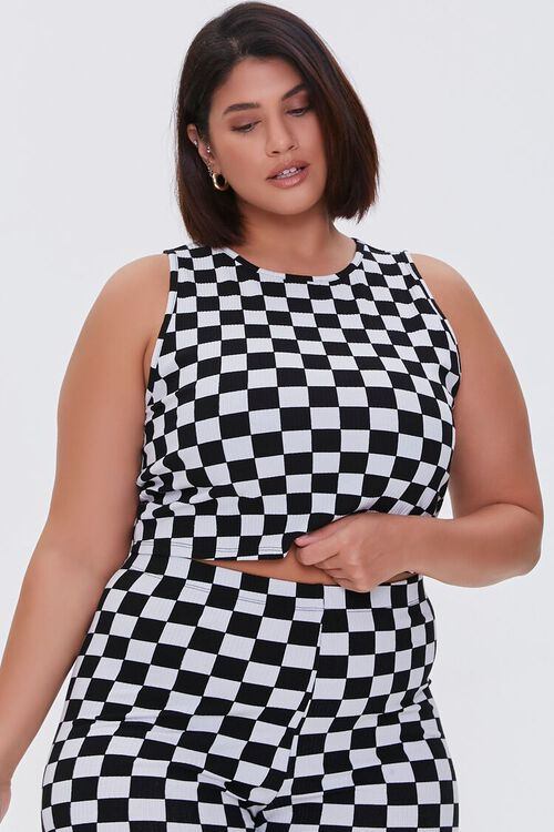 Plus Size Checkered Tank Top, image 1