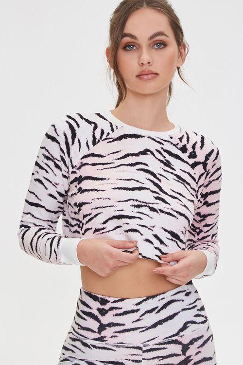 PINK/MULTI Active Tiger Print Crop Top, image 1