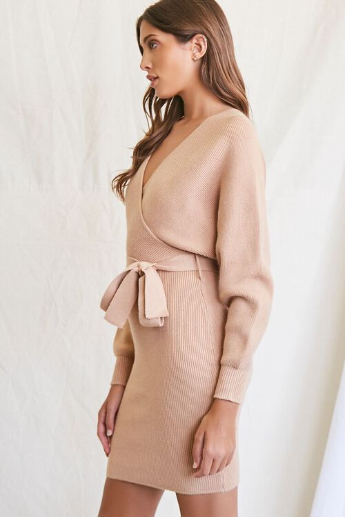 TAUPE Sweater-Knit Wrap Dress, image 2