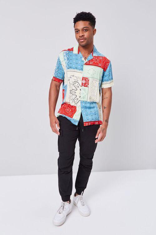 BLUE/MULTI Patchwork Bandana Print Fitted Shirt, image 4