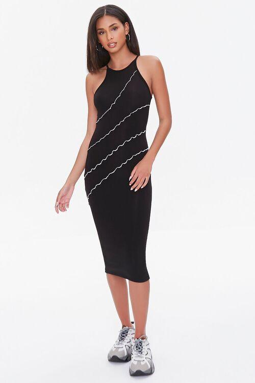 BLACK Seamed Bodycon Midi Dress, image 4