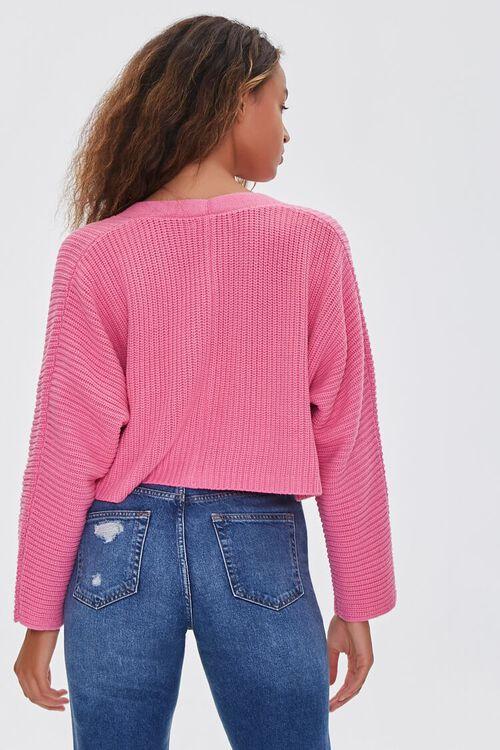 PINK Ribbed Cropped Cardigan Sweater, image 3