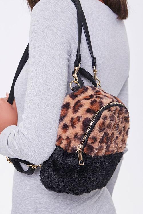 Faux Fur Leopard Print Backpack, image 2