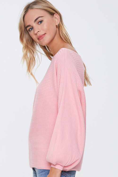 Ribbed Balloon-Sleeve Sweater, image 2
