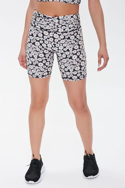 Active Floral Print Biker Shorts, image 2