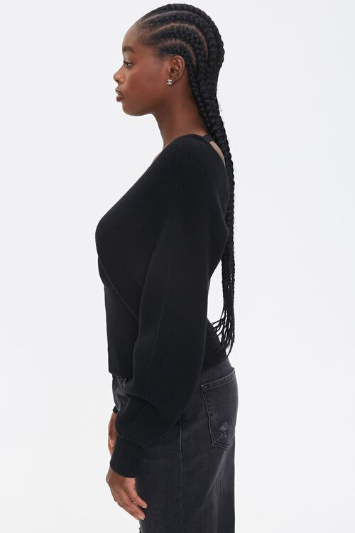 Ribbed Surplice Batwing Sweater, image 2