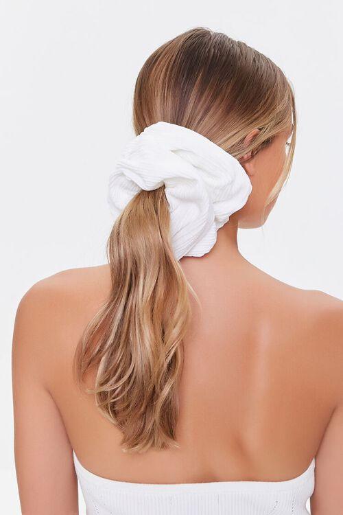 WHITE Oversized Ribbed Scrunchie, image 1